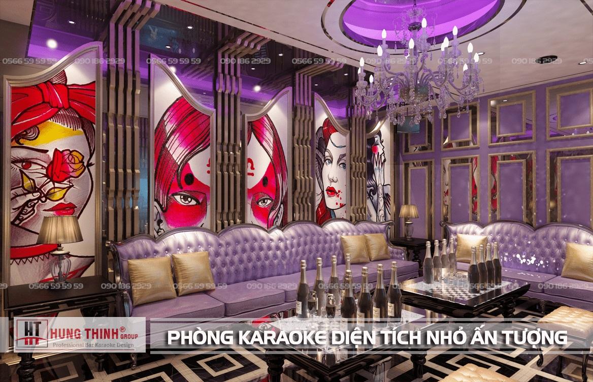 Phòng karaoke diện tích nhỏ nhưng ấn tượng