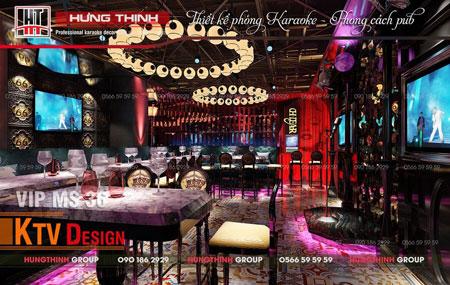 Phòng karaoke ấm cúng design theo phong cách Pub