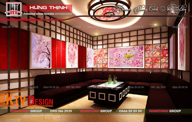 Phòng karaoke phong cách Nhật chủ đề Hoa anh đào