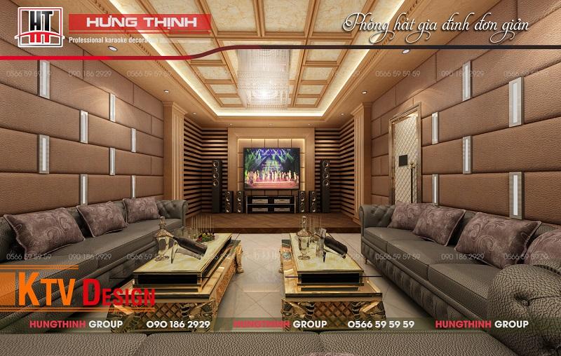 Phòng karaoke gia đình đơn giản