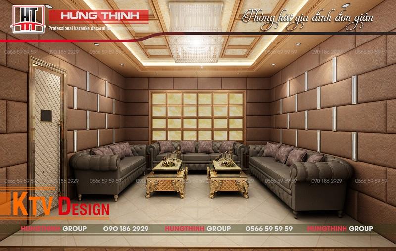Phòng karaoke gia đình thiết kế đơn giản