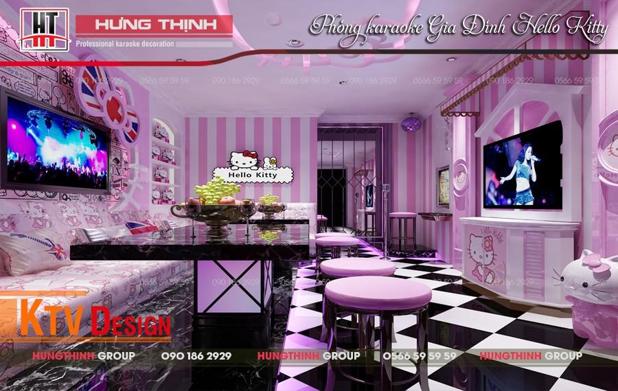 Phòng hát gia đình phong cách Hello Kitty
