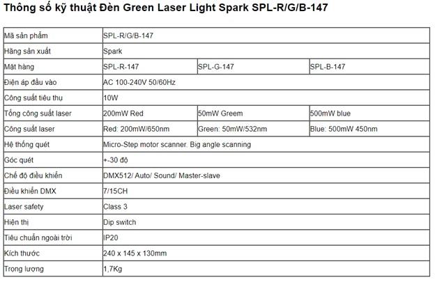 Thông số kỹ thuật đèn laze 147